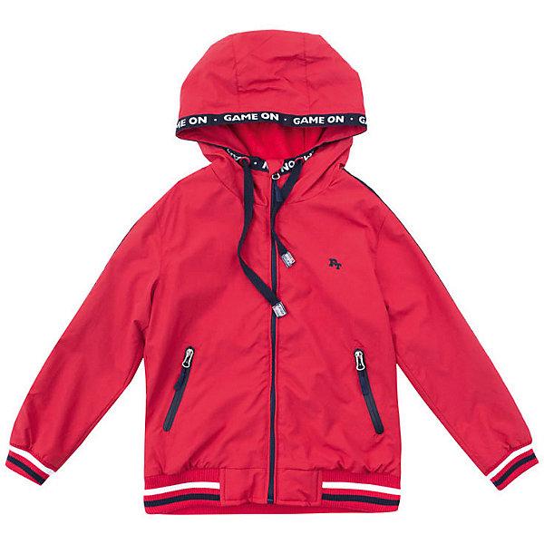 Куртка PlayToday для мальчикаВерхняя одежда<br>Характеристики товара:<br><br>• цвет: красный;<br>• состав ткани: 100% нейлон;<br>• подкладка: 60% хлопок, 40% полиэстер;<br>• без дополнительного утепления;<br>• сезон: демисезон;<br>• температурный режим: от +10С;<br>• застёжка: молния с защитой подбородка;<br>• водонепроницаемая ткань;<br>• капюшон не отстёгивается;<br>• дополнительный шнурок-утяжка по краю капюшона;<br>• манжеты рукавов и низ изделия на мягкой трикотажной резинке;<br>• два кармана на молнии;<br>• светоотражающие детали;<br>• коллекция: Футбольный клуб;<br>• страна бренда: Германия.<br><br>Курта выполнена из водонепроиницаемой ткани, на молнии. Встрочной капюшон на кулиске. Манжеты и низ изделия на мягких трикотажных резинках для дополнительного сохранения тепла. <br><br>Куртка дополнена встрочными карманами на молнии. Подкладка из ткани с высоким содержанием натурального хлопка.<br><br>Куртку PlayToday (ПлэйТудэй) можно купить в нашем интернет-магазине.<br>Ширина мм: 356; Глубина мм: 10; Высота мм: 245; Вес г: 519; Цвет: красный; Возраст от месяцев: 84; Возраст до месяцев: 96; Пол: Мужской; Возраст: Детский; Размер: 104,146/152,134/140,122,110,116,128; SKU: 7713753;