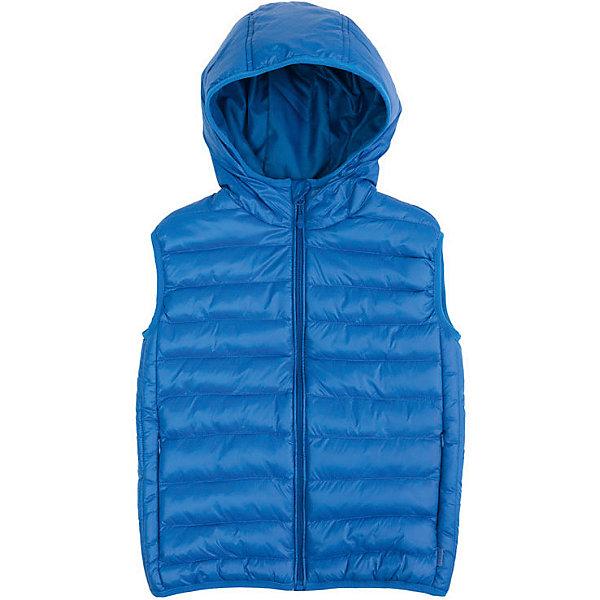 Жилет PlayToday для мальчикаЖилеты<br>Характеристики товара:<br><br>• цвет: синий;<br>• состав ткани: 100% нейлон;<br>• подкладка; 100% полиэстер;<br>• утеплитель: 100% полиэстер, 100 г/м2;<br>• сезон: демисезон;<br>• температурный режим: от +7С;<br>• застёжка: молния с защитой подбородка;<br>• водонепроницаемая ткань;<br>• капюшон не отстёгивается;<br>• капюшон на мягкой резинке;<br>• пройма рукавов и низ изделия на мягкой резинке;<br>• внутренний карман на липучке;<br>• два кармана на молнии;<br>• светоотражающие детали;<br>• коллекция; Футбольный клуб;<br>• страна бренда: Германия.<br><br>Утепленный стеганый жилет выполнен из водонепроницаемой ткани. Встрочной капюшон по контуру дополнен мягкой резинкой. Модель на молнии. Специальный карман для фиксации бегунка не позволит застежке травмировать нежную детскую кожу. <br><br>Пройма рукавов и низ жилета на мягких резинах для дополнительного сохранения тепла. Подкладка из полиэстера. светоотражатель обеспечит видимость ребенка в темное время суток.<br><br>Жилет PlayToday (ПлэйТудэй) можно купить в нашем интернет-магазине.<br>Ширина мм: 356; Глубина мм: 10; Высота мм: 245; Вес г: 519; Цвет: синий; Возраст от месяцев: 48; Возраст до месяцев: 60; Пол: Мужской; Возраст: Детский; Размер: 110,146/152,134/140,128,104,122,116; SKU: 7713769;