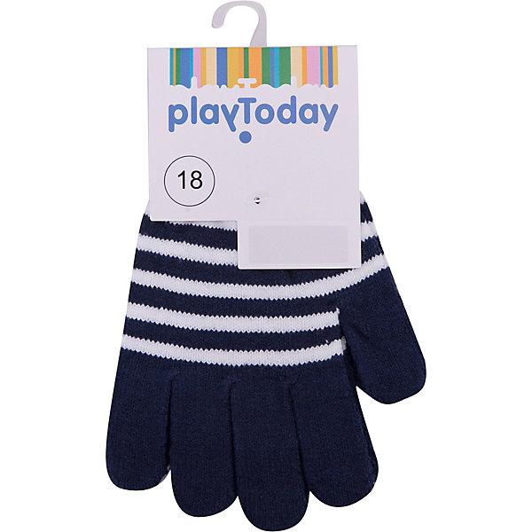 Перчатки PlayToday для мальчикаВерхняя одежда<br>Характеристики товара:<br><br>• цвет: тёмно-синий;<br>• состав ткани: 58% хлопок, 40% акрил, 2% эластан;<br>• сезон: демисезон;<br>• температурный режим: от -5 до +7С;<br>• манжеты на плотной трикотажной резинке;<br>• вязаные перчатки;<br>• перчатки в полоску;<br>• коллекция: Футбольный клуб;<br>• страна бренда: Германия.<br><br>Вязаные перчатки мягкие, хорошо тянутся и прекрасно сохраняют тепло. На манжетах - плотная трикотажная резинка, которая хорошо держит перчатки на руках ребенка. Модель выполнена в технике yarn dyed, в процессе производства используются разного цвета нити. При рекомендуемом уходе изделие не линяет и надолго остается в первоначальном виде.<br><br>Перчатки PlayToday (ПлэйТудэй) можно купить в нашем интернет-магазине.<br>Ширина мм: 162; Глубина мм: 171; Высота мм: 55; Вес г: 119; Цвет: темно-синий; Возраст от месяцев: 3; Возраст до месяцев: 6; Пол: Мужской; Возраст: Детский; Размер: 16,13,18,14; SKU: 7713785;