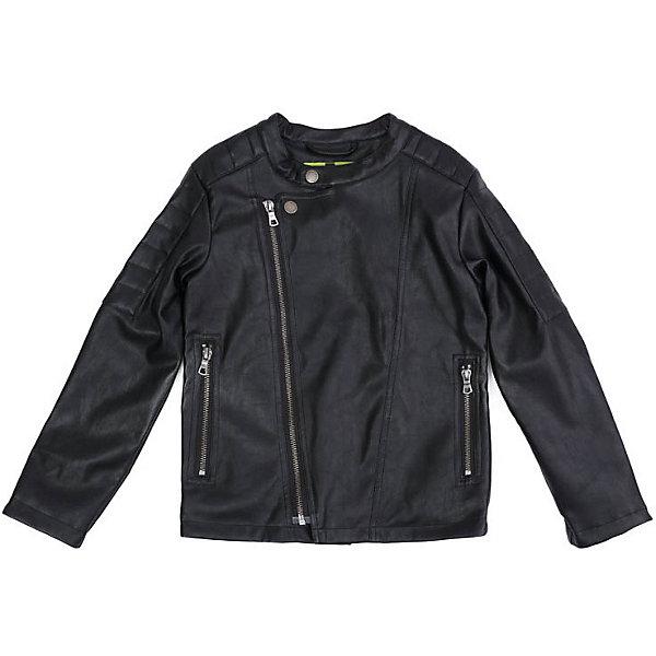 Куртка PlayToday для мальчикаДемисезонные куртки<br>Характеристики товара:<br><br>• цвет: чёрный;<br>• состав ткани: 60% полиуретан, 34% вискоза, 6% полиэстер;<br>• подкладка: 100% полиэстер;<br>• без дополнительного утепления;<br>• сезон: демисезон;<br>• температурный режим: от +10С;<br>• застёжка: молния и кнопка на вороте;<br>• ассиметричная молния;<br>• куртка без капюшона;<br>• молния на рукавах;<br>• кожаная куртка;<br>• два кармана на молнии;<br>• светоотражающие детали;<br>• коллекция: Рок-звезда;<br>• страна бренда: Германия.<br><br>Куртка выполнена из искусственной кожи, на подкладке из полиэстера. Модель с асимметричной застежкой - молнией и воротником - стойкой. В качестве декора использованы металлические заклепки. Куртка дополнена встрочными карманами на молнии.<br><br>Куртку PlayToday (ПлэйТудэй) можно купить в нашем интернет-магазине.