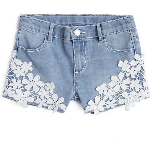 Шорты джинсовые PlayToday для девочкиШорты, бриджи, капри<br>Характеристики товара:<br><br>• цвет: голубой;<br>• состав ткани: 68% хлопок, 30% полиэстер, 2% эластан;<br>• сезон: лето;<br>• застёжка: ширинка на молнии и пуговица;<br>• внутренняя регулировка талии;<br>• наличие шлёвок для ремня;<br>• классическая 5-ти карманная модель;<br>• декорированы кружевом;<br>• коллекция: Пионы;<br>• страна бренда: Германия.<br><br>Шорты выполнены из натурального материала. Пояс на шлевках, при необходимости можно использовать ремень, по ширине изнутри регулируется за счет резинки на пуговицах. 5-ти карманная модель. В качестве декора использованы вставки из шитья.<br><br>Шорты PlayToday (ПлэйТудэй) можно купить в нашем интернет-магазине.<br>Ширина мм: 191; Глубина мм: 10; Высота мм: 175; Вес г: 273; Цвет: голубой; Возраст от месяцев: 36; Возраст до месяцев: 48; Пол: Женский; Возраст: Детский; Размер: 104,146/152,134/140,122,110,116,128; SKU: 7714960;