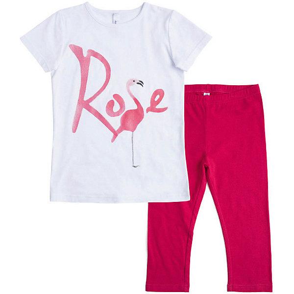 PlayToday Комплект PlayToday для девочки комплект для девочки playtoday футболка шорты цвет белый розовый зеленый 188866 размер 74