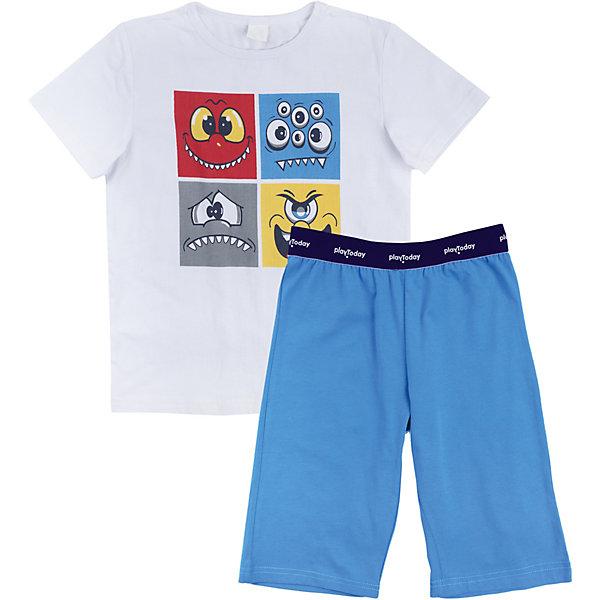 Комплект PlayToday для мальчикаКомплекты<br>Комплект PlayToday для мальчика<br>Комплект из натурального трикотажа. Пояс шорт на широкой резинке, не сдавливающей живот ребенка. Горловина футболки оформлена мягкой трикотажной резинкой. В качестве декора использован крупный водный принт.<br>Состав:<br>95% хлопок, 5% эластан<br>Ширина мм: 215; Глубина мм: 88; Высота мм: 191; Вес г: 336; Цвет: белый; Возраст от месяцев: 36; Возраст до месяцев: 48; Пол: Мужской; Возраст: Детский; Размер: 134/140,122,128,104,116,110,146/152; SKU: 7715298;