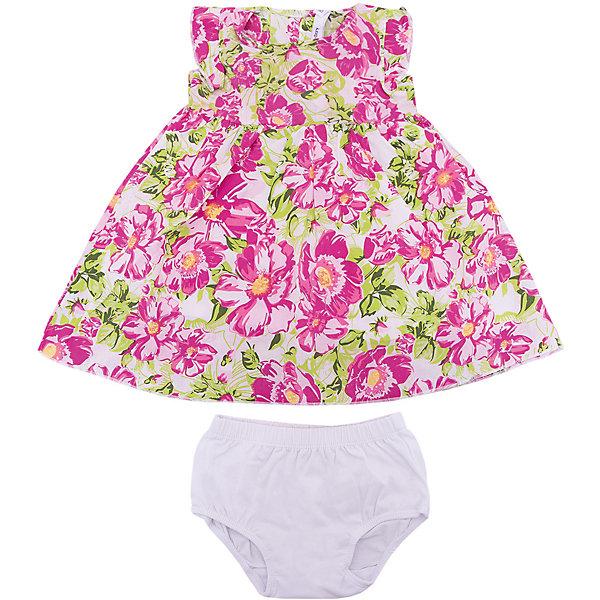 Комплект PlayToday для девочкиКомплекты<br>Характеристики товара:<br><br>• цвет: белый/розовый;<br>• состав ткани: 100% хлопок;<br>• сезон: лето;<br>• в комплекте: платье и трусики;<br>• застёжка: кнопки на спине по всей длине;<br>• декорированы принтом;<br>• коллекция: Солнечная палитра;<br>• страна бренда: Германия.<br><br>Комплект выполнен из натурального хлопка. Платье из яркой набивной ткани, на подкладке, с завышенной талией. Пройма рукавов декорирована оборками. На спинке по всей длине изделия расположены застежки - кнопки. Трусики с высокой посадкой. Пояс на широкой резинке, не сдавливающей живот ребенка. Аккуратные швы не вызывают неприятных ощущений.<br><br>Комплект PlayToday (ПлэйТудэй) можно купить в нашем интернет-магазине.<br>Ширина мм: 215; Глубина мм: 88; Высота мм: 191; Вес г: 336; Цвет: белый; Возраст от месяцев: 12; Возраст до месяцев: 15; Пол: Женский; Возраст: Детский; Размер: 80,98,92,86; SKU: 7717291;
