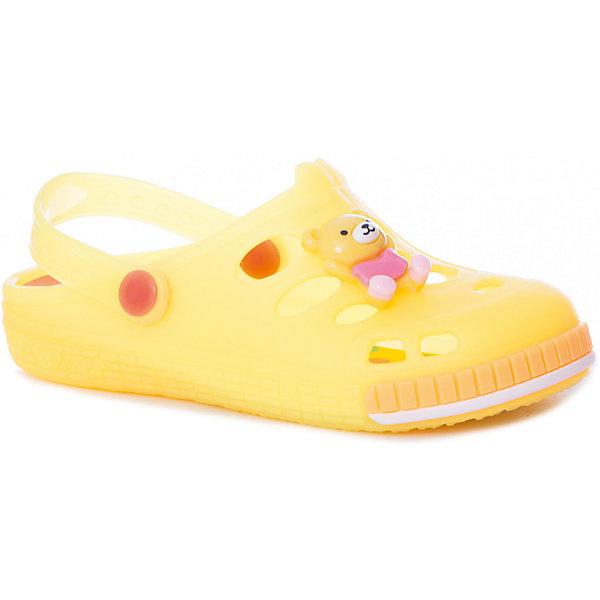 Сабо Mursu для девочкиПляжная обувь<br>Характеристики товара:<br><br>• цвет: желтый;<br>• внешний материал: ЭВА;<br>• внутренний материал: ЭВА;<br>• стелька: ЭВА;<br>• подошва: ЭВА;<br>• сезон: лето;<br>• облегчённая модель;<br>• подходит для пляжа;<br>• декоративные элементы;<br>• отверстия для вентиляции;<br>• закрытый нос;<br>• устойчивая подошва с рифлением;<br>• страна бренда: Финляндия.<br><br>Удобные кроксы Mursu незаменимы для пляжного сезона. Легкая модель полностью выполнена из качественного полимерного материала. У кроксов имеется подвижный ремешок с пластиковыми кнопками. Большое количество дырочек в верхней части обуви обеспечивает вентиляцию ноги. Модель выполнена в ярком розовом цвете, мысочная часть  дополнена декоративной вставкой в виде мишки, что неприменно порадует вашего малыша.<br><br>Пляжная обувь финского бренда Mursu - это отличный вариант правильной и красивой детской обуви!<br><br>Пляжную обувь Mursu для девочки можно купить в нашем интернет-магазине.<br>Ширина мм: 225; Глубина мм: 139; Высота мм: 112; Вес г: 290; Цвет: желтый; Возраст от месяцев: 21; Возраст до месяцев: 24; Пол: Женский; Возраст: Детский; Размер: 24,29,28,27,26,25; SKU: 7723157;