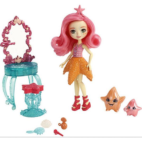 Игровой набор Enchantimals «Морские подружки с друзьями» Старлинг и ее морские звездочки, 15 смКуклы<br>Характеристики:<br><br>• возраст: от 4 лет;<br>• материал: пластмасса, текстиль;<br>• высота куклы: 15 см;<br>• герои: Старлинг и ее морские звездочки;<br>• подвижные руки, ноги, голова у куклы, мягкие волосы;<br>• комплектация: кукла, аксессуары;<br>• вес в упаковке: 167 гр.;<br>• размеры упаковки: 21,9х25,5х5,8 см;<br>• упаковка: картонная коробка блистерного типа;<br>• страна бренда: США.<br><br>Игровой набор Enchantimals (Энчантималс) «Морские подружки с друзьями», включает в себя куклу Старлинг и ее морские звездочки, съемные аксессуары и предметы одежды. Кукла меняет цвет волос. Нужно нанеси холодную воду, чтобы изменить цвет, а чтобы вернуть всё назад, нанеси тёплую воду, можно повторять снова и снова.<br><br>Кукла не может стоять без опоры. Имеет подвижные руки и ноги, ее голова поворачивается. Волосы можно расчесывать и делать новые прически, тем самым развивая воображение ребенка. <br><br>Игровой набор Enchantimals (Энчантималс) «Морские подружки с друзьями» Старлинг и ее морские звездочки, 15 см можно приобрести в нашем интернет-магазине.<br>Ширина мм: 270; Глубина мм: 370; Высота мм: 230; Вес г: 1400; Возраст от месяцев: 48; Возраст до месяцев: 2147483647; Пол: Женский; Возраст: Детский; SKU: 7731394;