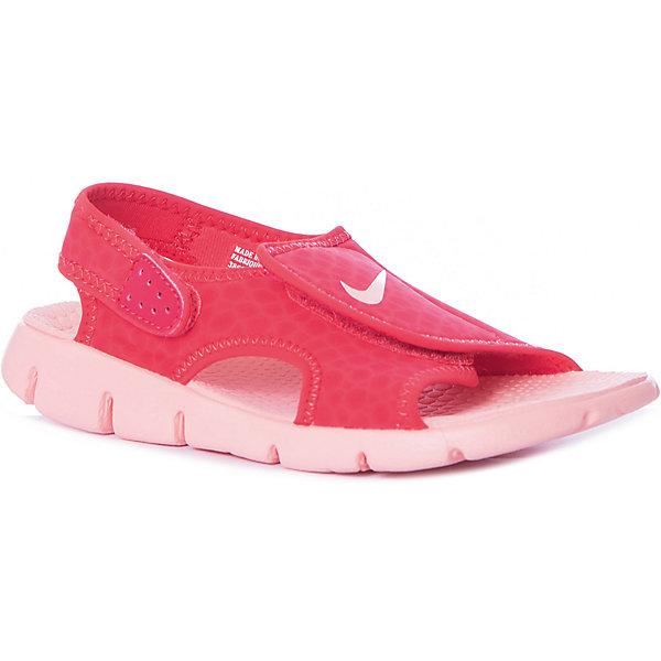 Сандалии NIKEПляжная обувь<br>Характеристики товара:<br><br>• цвет: розовый;<br>• коллекция: Sunray Adjust 4;<br>• внешний материал: синтетическая кожа;<br>• внутренний материал: текстиль;<br>• стелька: текстиль;<br>• подошва: ТЭП, резина;<br>• тип подошвы: протекторная;<br>• стиль: спортивный;<br>• сезон: лето;<br>• форма мыска: открытый;<br>• вид мыска: круглый;<br>• анатомические;<br>• на липучках;<br>• страна бренда: США.<br><br>Сандалии NIKE  разработаны специально для детей, имеют практичный дизайн и комфортную посадку. Они созданы для теплой погоды и готовы к активному образу жизни Вашего ребенка. Выполнены в универсальном черном цвете с логотипом бренда на мыске, подойдут под большое количество детской одежды.<br><br>Текстильная прочная стелька и амортизационная внутренняя подошва обеспечивают удобную посадку и превосходную гибкость. Прочный верх. Регулируемые фирменные ремешки VELCRO, фиксируются на лодыжке. Подошва выполнена из прочной резины. Комфорт на суше и на воде. <br><br>Сандалии для мальчиков Nike Sunray Adjust 4 (от 11 месяцев до 7 лет) из легкого материала Phylon с синтетическим верхом быстро высыхают и идеально подходят для отдыха у воды, на пляже. Ремешки с застежками на липучке очень удобны для легкого переобувания. <br><br>Сандали открытые Nike Sunray Adjust 4 можно купить в нашем интернет-магазине.<br>Ширина мм: 271; Глубина мм: 134; Высота мм: 99; Вес г: 244; Цвет: разноцветный; Возраст от месяцев: 36; Возраст до месяцев: 48; Пол: Унисекс; Возраст: Детский; Размер: 27,37.5,37,35,34,32.5,31.5,30,28.5; SKU: 7741673;
