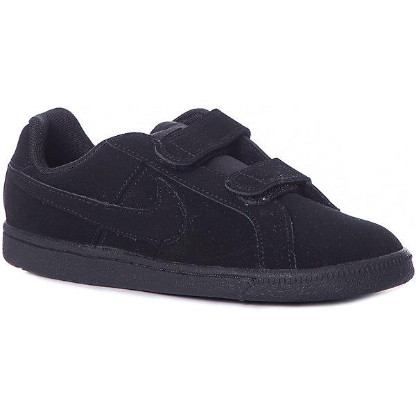 Кроссовки NIKEКроссовки<br>арактеристики товара:<br><br>• цвет: черный<br>• коллекция: Nike Court Royale (GS)<br>• спортивный стиль<br>• внешний материал обуви: натуральная кожа;<br>• внутренний материал: текстиль<br>• стелька: EVA<br>• подошва: резина<br>• декорированы логотипом<br>• вставка в подошве для мягкой амортизации<br>• тип застежки: липучка<br>• сезон: весна, лето<br>• температурный режим: от +10°С до +20°С<br>• устойчивая подошва<br>• износостойкий материал<br>• страна бренда: США<br><br>Кеды для мальчика Nike Court Royale (GS) - новое исполнение теннисной классики в современном стиле. Выполнены из первоклассной мягкой кожи  обеспечивая максимальный комфорт ребенку.  Стелька из пеноматериала EVA обеспечивает амортизацию без утяжеления. Резиновая подошва типа cupsole обеспечивает гибкость и поддержку. <br><br>Обувь качественно проработана, она долго служит, удобно сидит, отлично защищает детскую ногу от повреждений. Надевается элементарно, благодаря широким липучкам и удобному язычку. Стильно выглядит и хорошо смотрится с одеждой разных цветов и стилей.<br><br>Кеды NIKE (Найк) можно купить в нашем интернет-магазине.<br>Ширина мм: 250; Глубина мм: 150; Высота мм: 150; Вес г: 250; Цвет: разноцветный; Возраст от месяцев: 120; Возраст до месяцев: 132; Пол: Унисекс; Возраст: Детский; Размер: 34.5,26,34,33,32,31.5,31,30,29,28.5,28,27; SKU: 7741814;