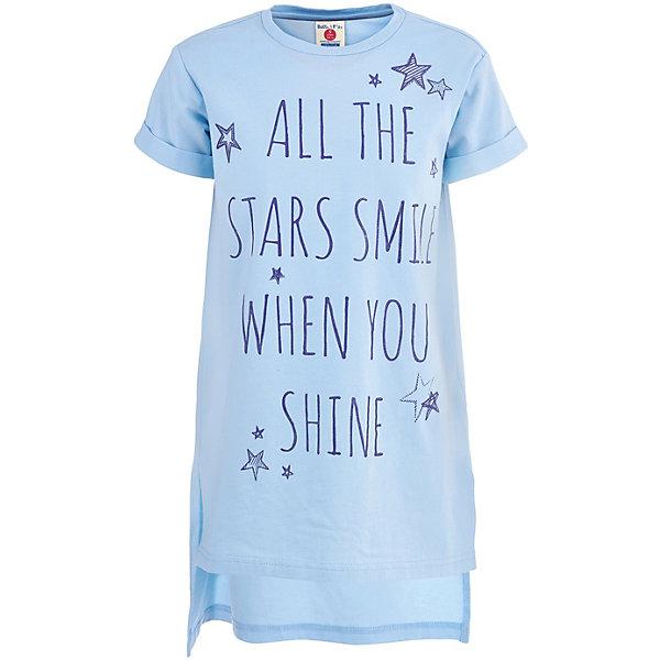 Платье Button Blue для девочкиПлатья и сарафаны<br>Платье Button Blue для девочки<br>Купить платье для девочки - значит обеспечить ее удобной и легкой одеждой, которая просто незаменима в теплое время года. Недорогая модель Button Blue имеет модный дизайн, напоминающий длинную футболку. В этом платье можно гулять и веселиться, не боясь его повредить - оно свободно, не стесняет движений и дарит девочке только комфорт. Надпись, сделанная стильным шрифтом, спокойный цвет, сочетающийся с разными цветовыми палитрами, - все это делает модель идеальной основой множества образов.<br>Состав:<br>95%хлопок, 5%эластан<br>Ширина мм: 236; Глубина мм: 16; Высота мм: 184; Вес г: 177; Цвет: голубой; Возраст от месяцев: 84; Возраст до месяцев: 96; Пол: Женский; Возраст: Детский; Размер: 128,110,104,158,152,146,140,122,116,134; SKU: 7745311;