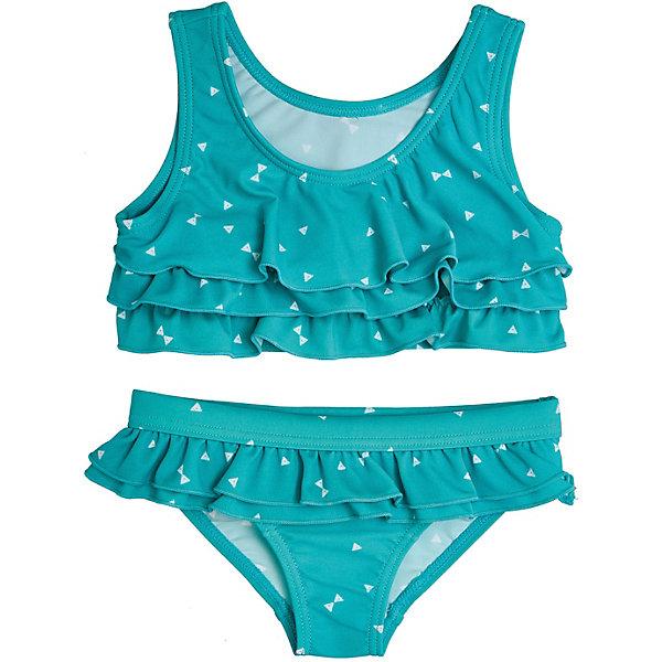 Купальник Button Blue для девочкиКупальники и плавки<br>Купальник Button Blue для девочки<br>Купальник для плавания - то, без чего не должен обходиться ни один ребенок! Раздельный купальник идеален для того чтобы загорать, он удобен и не стесняет движений. Купить недорого купальник для девочки бирюзового цвета, декорированный узором с треугольниками и оборками на топе и трусиках, значит порадовать ее полезным и красивым приобретением. Модель выглядит мило и модно, в ней девочка будет чувствовать себя комфортно, а это самое главное.<br>Состав:<br>83% полиамид        17% эластан;       подкл.:                    100% полиэстер<br>Ширина мм: 183; Глубина мм: 60; Высота мм: 135; Вес г: 119; Цвет: бирюзовый; Возраст от месяцев: 132; Возраст до месяцев: 144; Пол: Женский; Возраст: Детский; Размер: 152,140,128,116,104,98; SKU: 7745857;