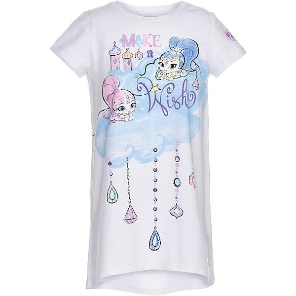 Ночная сорочка Button Blue для девочкиПижамы и сорочки<br>Ночная сорочка Button Blue для девочки<br>Ночная сорочка в виде большой свободной футболки - идеальная одежда для сна. В ней так уютно, комфортно и приятно! А чтобы порадовать девочку еще больше, ей можно купить недорогую детскую ночную сорочку с изображением Шиммер и Шайн - близняшек-джиннов из популярного мультфильма. Рисунки выполнены в технике акварели, что делает их особенно нежными и милыми. <br>Сорочка изготовлена из хлопка с эластаном - гигиеничного, устойчивого к разрывам материала.<br>Состав:<br>95%хлопок 5%эластан<br>Ширина мм: 281; Глубина мм: 70; Высота мм: 188; Вес г: 295; Цвет: белый; Возраст от месяцев: 24; Возраст до месяцев: 36; Пол: Женский; Возраст: Детский; Размер: 98,152,140,104,128,116; SKU: 7746914;