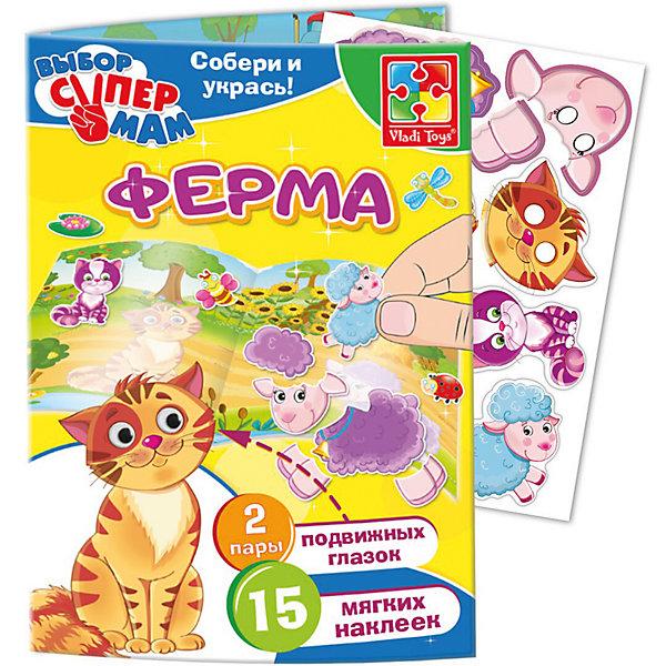 Игры с наклейками и глазками ФермаОбучающие игры для дошкольников<br>Характеристики:<br><br>• возраст: от 3 лет;<br>• в наборе: 15 мягких наклеек, 2 пары подвижных глазок;<br>• материал: картон, пластик;<br>• размер упаковки: 0,4х17х27,5 см;<br>• вес упаковки: 40 гр.;<br>• страна бренда: Украина.<br><br>Игра с наклейками и глазками Vladi Toys «Ферма» предлагает ребенку собрать из деталей разных животных. Когда малыш справится с этой задачей, останется только «оживить» персонажа с помощью подвижных глазок.<br><br>Игра помогает закрепить знания о цветах, формах и животных. Мягкие наклейки приятны на ощупь. Сделано из безопасных материалов.<br><br>Игру с наклейками и глазками «Ферма» можно купить в нашем интернет-магазине.<br>Ширина мм: 40; Глубина мм: 170; Высота мм: 275; Вес г: 40; Возраст от месяцев: 36; Возраст до месяцев: 2147483647; Пол: Унисекс; Возраст: Детский; SKU: 7748206;