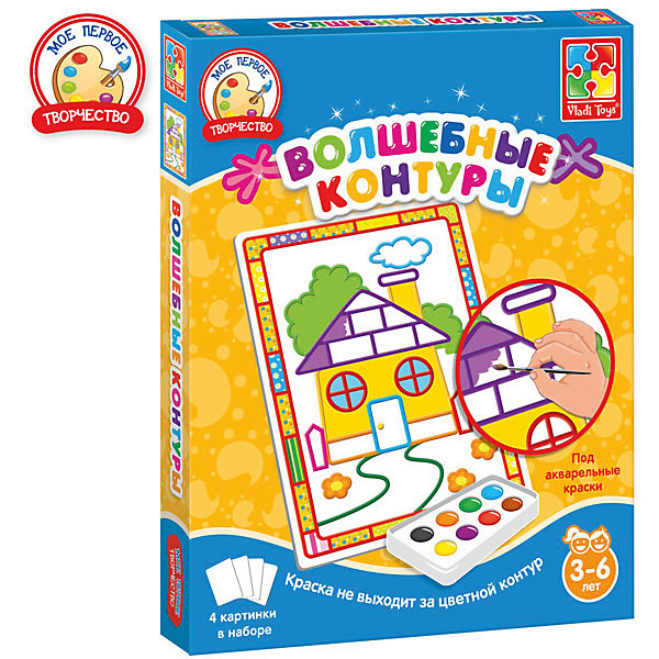 Набор для творчества Волшебные контуры ДомикРаскраски для детей<br>Характеристики:<br><br>• возраст: от 3 лет;<br>• в наборе: 4 картинки с контурами;<br>• краски и кисть в комплект не входят;<br>• материал: бумага, пластик;<br>• размер упаковки: 2,5х20,6х25,7 см;<br>• вес упаковки: 180 гр.;<br>• страна бренда: Украина.<br><br>Набор для творчества Vladi Toys «Домик» из серии «Волшебные контуры» содержит 4 картинки-шаблона с цветными контурами. Каждый контур подсказывает ребенку цвет, которым нужно раскрасить изображение.<br><br>Контуры пропитаны специальной водоотталкивающей пропиткой, поэтому краски не растекутся и картина получится аккуратной. Кроме того, в шаблоне уже предусмотрены декоры в виде рамки.<br><br>Набор помогает закрепить знания о цветах, развивает воображение и эстетический вкус. Подходит для акварельных красок.<br><br>Набор для творчества Волшебные контуры «Домик» можно купить в нашем интернет-магазине.
