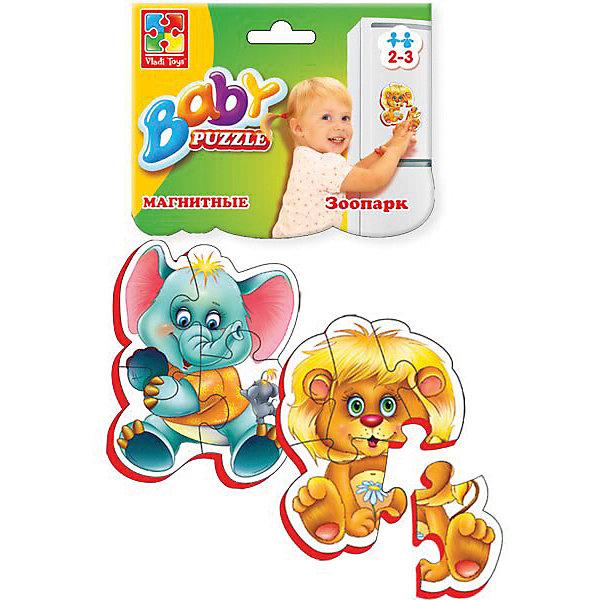 Мягкие магнитные Baby puzzle ЗоопаркПазлы для малышей<br>Характеристики:<br><br>• возраст: от 2 лет;<br>• материал: вспененный полимер, магнит, картон;<br>• количество деталей: 9;<br>• в наборе 2 пазла;<br>• размер упаковки: 1х13,5х25,5 см;<br>• вес упаковки: 58 гр.;<br>• страна бренда: Украина.<br><br>Мягкие магнитные Baby puzzle «Зоопарк» от компании Vladi Toys можно собирать на разных металлических поверхностях или использовать как обычный мягкий пазл. Объемные детали из вспененного полимера отлично переносят механическое воздействие. Материал безопасен для ребенка, его текстура приятна на ощупь. Верхнее покрытие – картон.<br><br>Детали пазла легко соединяются между собой. Сборка изображения развивает внимательность и логическое мышление. Готовую картинку можно повесить на холодильник.<br><br>Мягкие магнитные Baby puzzle «Зоопарк» можно купить в нашем интернет-магазине.<br>Ширина мм: 10; Глубина мм: 135; Высота мм: 255; Вес г: 58; Возраст от месяцев: 12; Возраст до месяцев: 36; Пол: Унисекс; Возраст: Детский; SKU: 7748238;