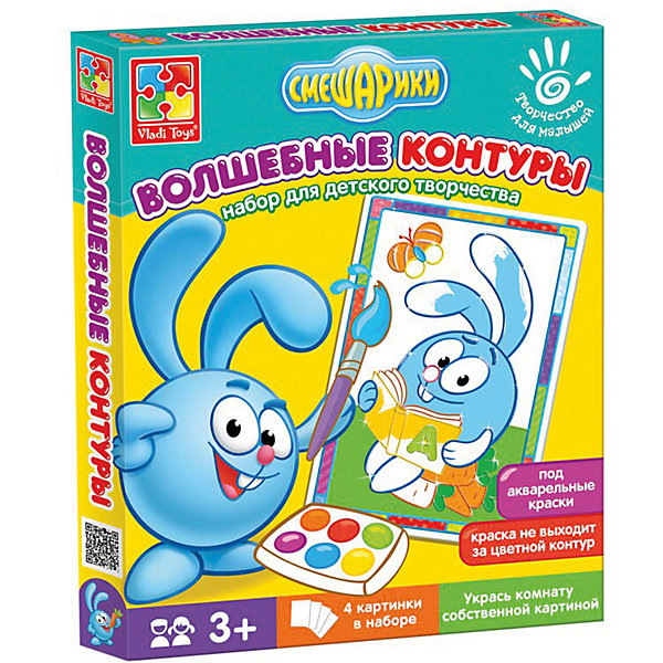 Набор для творчества Волшебные контуры Смешарики КрошРаскраски для детей<br>Характеристики:<br><br>• возраст: от 3 лет;<br>• в наборе: 4 картинки с контурами;<br>• краски и кисть в комплект не входят;<br>• материал: бумага, пластик;<br>• размер упаковки: 2,5х20,6х25,7 см;<br>• вес упаковки: 100 гр.;<br>• страна бренда: Украина.<br><br>Набор для творчества Vladi Toys Смешарики «Крош» из серии «Волшебные контуры» содержит 4 картинки-шаблона с цветными контурами. Каждый контур подсказывает ребенку цвет, которым нужно раскрасить изображение.<br><br>Контуры пропитаны специальной водоотталкивающей пропиткой, поэтому краски не растекутся и картина получится аккуратной. Кроме того, в шаблоне уже предусмотрены декоры в виде рамки.<br><br>Набор помогает закрепить знания о цветах, развивает воображение и эстетический вкус. Подходит для акварельных красок.<br><br>Набор для творчества Волшебные контуры Смешарики «Крош» можно купить в нашем интернет-магазине.<br>Ширина мм: 25; Глубина мм: 206; Высота мм: 257; Вес г: 100; Возраст от месяцев: 24; Возраст до месяцев: 48; Пол: Унисекс; Возраст: Детский; SKU: 7748240;