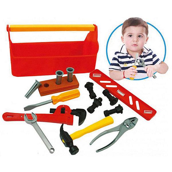 Набор инструментов Bebelino Почини всеНаборы инструментов<br>Характеристики товара:<br><br>• возраст: от 3 лет;<br>• пол: для мальчиков;<br>• комплект: молоток, отвертка, гаечный ключ, разводной ключ, уровень, 2 дощечки, 4 болтика, 4 гайки, 3 дюбеля, линейка;<br>• из чего сделана игрушка (состав): пластик;<br>• размер игрушки: 30х15х13 см.;<br>• вес: 376 гр.;<br>• страна обладатель бренда: Великобритания.<br><br>Игровой набор инструментов «Почини все» отлично подойдет для самых юных мастеров, которые самостоятельно хотят научиться чинить различные предметы. <br><br>В комплект входят 19 предметов.<br><br>Такой набор будет обучать ребенка починке разных предметов и сделает из него мастера с золотыми руками.<br><br>Игровой набор инструментов «Почини все» можно купить в нашем интернет-магазине.<br>Ширина мм: 300; Глубина мм: 130; Высота мм: 150; Вес г: 376; Цвет: разноцветный; Возраст от месяцев: 36; Возраст до месяцев: 2147483647; Пол: Унисекс; Возраст: Детский; SKU: 7753462;