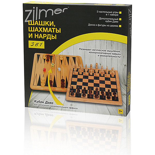 Набор настольных игр 3 в 1 Шахматы, шашки, нарды Zilmer , 29х29х1,2 см,  деревоСпортивные настольные игры<br>Характеристики:<br><br>• возраст: от 3 лет;<br>• материал: дерево;<br>• в наборе: доска для игр, шахматные фигуры 32 шт., шашки 32 шт., кубики 3 шт., правила игры;<br>• вес упаковки: 1 кг.;<br>• размер упаковки: 30х30х4 см;<br>• страна бренда: Китай.<br><br>Набор Zilmer 3 в 1 «Шашки, шахматы и нарды» представляет классические настольные игры для развития логического мышления. Игровое поле, шашки и шахматы изготовлены из дерева. В комплекте есть дополнительный кубик Даве для развития соревновательного эффекта.<br><br>Набор настольных игр 3 в 1 «Шахматы, шашки, нарды» Zilmer, 29х29х1,2 см, дерево можно купить в нашем интернет-магазине.<br>Ширина мм: 30; Глубина мм: 30; Высота мм: 4; Вес г: 1000; Цвет: разноцветный; Возраст от месяцев: 36; Возраст до месяцев: 72; Пол: Унисекс; Возраст: Детский; SKU: 7753565;