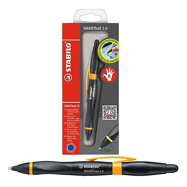 STABILO Ручка-стилус Stabilo smartball 2.0 д/правшей синяя, корпус черный/св.зеленый оригинальный стилус активная емкость стилус из нержавеющей стали сенсорный ручка для планшетных пк chuwi hi 12 hipen h1 подарок ко