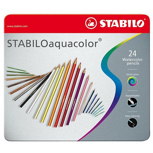 STABILO Набор акварельных карандашей Stabilo aquacolor 24цв, металл цены