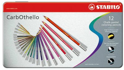 Набор цветных пастелей Stabilo Carbothello, 12 цв, металл, артикул:7754172 - Рисование и раскрашивание