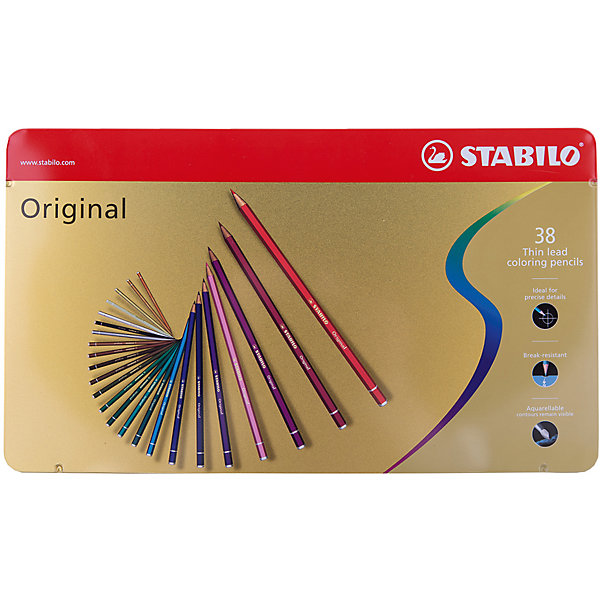 STABILO Набор цветных карандашей Stabilo original 38 цв, металл ботинки для девочек richter 12224259201 размер 23 цвет коричневый