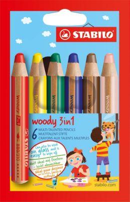 Набор цветных карандашей Stabilo woody 6цв, картон, артикул:7754180 - Рисование и раскрашивание