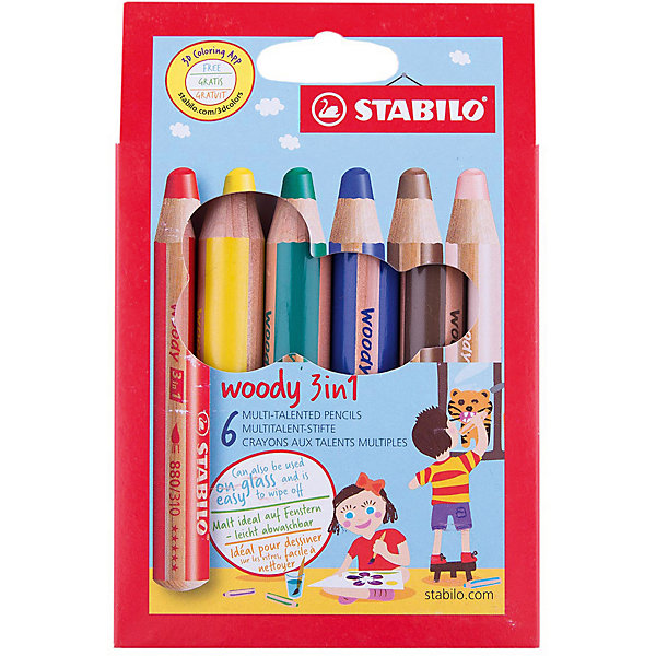 STABILO Набор цветных карандашей Stabilo woody 6цв, картон stabilo 880 woody 3 in 1 multipurpose pencils water color pencils crayon brushes assorted color 6 18 colors