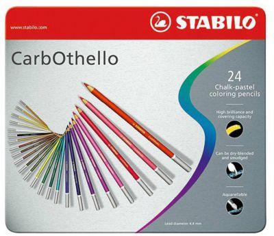 Набор цветных пастелей Stabilo Carbothello, 24 цв, металл, артикул:7754184 - Рисование и раскрашивание
