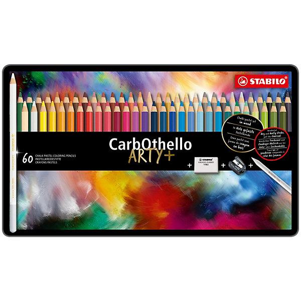 Набор цветных пастелей Stabilo Carbothello, 60 цв, металлКарандаши<br>Характеристики:<br><br>• возраст: от 3 лет<br>• в наборе: 60 пастельных карандашей, точилка, ластик<br>• количество цветов: 60<br>• форма карандаша: круглая<br>• диаметр грифеля: 4,4 мм.<br>• длина карандаша: 17,5 см.<br>• материал корпуса: древесина<br>• упаковка: металлическая коробка<br>• размер упаковки: 20х33,3х3 см.<br>• вес: 830 гр.<br><br>Цветная пастель Stabilo Carbothello, в виде деревянных карандашей, идеально подходит как для художников, так и для любительского использования.<br><br>Деревянная оболочка карандаша защищает хрупкую сердцевину – пастельный мелок, способный передать бесподобную свежесть и выразительность красок. Цвета хорошо смешиваются, равномерно ложатся на поверхность, обладают хорошей покрывной способностью. Исключительная насыщенность цвета позволяет добиться великолепных результатов даже на темном фоне.<br><br>Мягкий грифель позволяет рисовать на очень тонкой бумаге. При необходимости для прорисовки тонких линий карандаши можно заточить.<br><br>Цветные пастельные карандаши можно использовать как акварельные карандаши. Для придания специальных эффектов допускается размывание водой.<br><br>Карандаши упакованы в удобную металлическую коробку.<br><br>Набор цветных пастелей Stabilo Carbothello, 60 цв, металл можно купить в нашем интернет-магазине.<br>Ширина мм: 333; Глубина мм: 30; Высота мм: 200; Вес г: 830; Возраст от месяцев: 36; Возраст до месяцев: 2147483647; Пол: Унисекс; Возраст: Детский; SKU: 7754188;