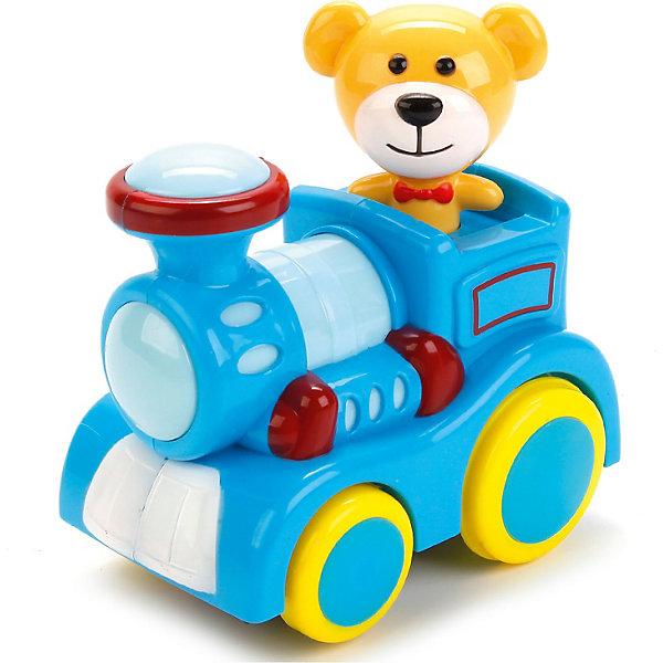 Паровозик со светом и звуком, с песней.Машинки<br>Характеристики товара:<br><br>• возраст: от 3 лет;<br>• размер упаковки: 14x10x15 см.;<br>• вес: 300 гр.;<br>• тип батареек: на батарейках (входят в комплект);<br>• из чего сделана игрушка (состав): пластик;<br>• упаковка: блистер на картоне.<br><br>Развивающая игрушка выполнена в виде яркого паровозика с весёлым машинистом – медвежонком.<br><br>Корпус игрушки имеет плавные очертания, без острых углов и выступов.<br><br>Паровозик оснащён крутящимися колёсами разного диаметра, которые приводятся в движение за счёт батареек.<br><br>Игрушка оснащена световыми и звуковыми эффектами, которые сделают игровой процесс более увлекательным.<br><br>Малышу будет интересно наблюдать, как паровозик будет перемещаться по игровой зоне, воспроизводя весёлую детскую песенку, реалистичные звуки движения и светится разными огоньками.<br><br>Паровозик со светом и звуком, с песней можно купить в нашем интернет-магазине.<br>Ширина мм: 140; Глубина мм: 100; Высота мм: 150; Вес г: 300; Цвет: синий; Возраст от месяцев: 36; Возраст до месяцев: 60; Пол: Унисекс; Возраст: Детский; SKU: 7754702;