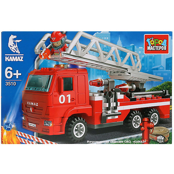 Купить Конструктор Город Мастеров «Камаз: пожарная машина с лестницей», с фигуркой, 126 деталей, Город мастеров, Китай, красный, Мужской