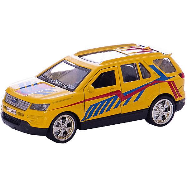 Машина Ford Explorer спорт 12 см. металл. инерц., открыв. двери.Машинки<br>Характеристики товара:<br><br>• возраст: от 3 лет;<br>• размер упаковки: 18x7x13 см.;<br>• вес: 170 гр.;<br>• размер машинки: 12 см.;<br>• из чего сделана игрушка (состав): пластик, металл;<br>• упаковка: картонная коробка с блистером.<br><br>Машинка выглядит очень реалистично за счет детализированного корпуса с радиаторной решеткой и фарами, а благодаря открывающимся дверцам и багажнику можно рассмотреть ее салон и поместить груз.<br><br>Широкие колеса игрушки дополнены рельефными протекторами и оснащены инерционным механизмом движения, который активируется оттягиванием машинки назад.<br><br>Корпус игрушки выполнен из металла, устойчивого к ударам и падениям, а яркий цвет изделия сохранит свою насыщенность надолго благодаря стойким и нетоксичным красителям.<br><br>Машину «Ford Explorer спорт» можно купить в нашем интернет-магазине.<br>Ширина мм: 180; Глубина мм: 70; Высота мм: 130; Вес г: 170; Цвет: желтый; Возраст от месяцев: 36; Возраст до месяцев: 96; Пол: Мужской; Возраст: Детский; SKU: 7754752;