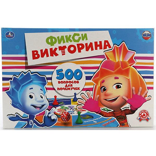 Викторина 500 вопросов для почемучек, ФиксикиДля всей семьи<br>Характеристики товара:<br><br>• возраст: от 3 лет;<br>• размер упаковки: 21x3x33 см.;<br>• вес: 150 гр.;<br>• комплект: игровое поле, 4 фишки, кубик, листы с вопросами;<br>• количество предполагаемых игроков: 2-4;<br>• из чего сделана игрушка (состав): картон, бумага, пластик;<br>• упаковка: картонная коробка.<br><br>Настольная игра «Фикси-викторина» состоит из 500 вопросов, которые связанны с этим знаменитым мультфильмом. <br><br>Такая игра поможет ребятам не только вспомнить различные серии из «Фиксиков», но и разобрать устройство окружающих нас вещей.<br><br>Такая игра понравится как мальчикам так и девочкам. «Фикси-викторина» это игра с пользой.<br><br>Викторина 500 вопросов. «Фиксики» можно купить в нашем интернет-магазине.