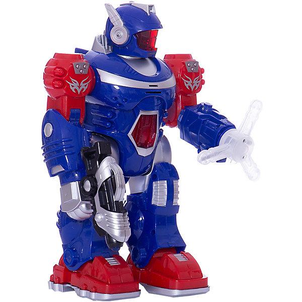 Робот со светом и звуком, ходит.Роботы-игрушки<br>Характеристики товара:<br><br>• возраст: от 3 лет;<br>• размер упаковки: 20x11x28 см.;<br>• вес: 730 гр.;<br>• тип батареек: 3 батарейки типа АА;<br>• из чего сделана игрушка (состав): пластмасса;<br>• упаковка: картонная коробка блистерного типа.<br><br>Игрушечный робот от производителя «Играем вместе» умеет ходить, читать стихи и петь.<br><br>Также у него получается крутить головой, двигать руками вверх и вниз. <br><br>В левой руке у робота находится щит, который вертится и светится, а в правой он держит светящееся оружие. <br><br>Работает на батарейках. Батарейки в комплект не входят.<br><br>Робота со светом и звуком можно купить в нашем интернет-магазине.<br>Ширина мм: 200; Глубина мм: 110; Высота мм: 280; Вес г: 730; Цвет: синий; Возраст от месяцев: 36; Возраст до месяцев: 96; Пол: Мужской; Возраст: Детский; SKU: 7754756;