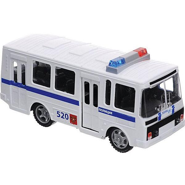 Машина  ПАЗ 3205 Полиция  металл. инерц. свет+звук, открыв.двери.Машинки<br>Характеристики товара:<br><br>• возраст: от 3 лет;<br>• размер упаковки: 19x6x15 см.;<br>• вес: 300 гр.;<br>• тип батареек: на батарейках;<br>• масштаб: 1:43;<br>• из чего сделана игрушка (состав): металл;<br>• упаковка: картонная коробка с блистером.<br><br>Коллекционная модель машины «ПАЗ 3205 Полиция» из серии Технопарк обладает высокой реалистичностью за счет двигающихся элементов открываются двери и багажник, а также звуковых и световых эффектов.<br><br>Автомобиль снабжен инерционным механизмом, что позволяет ему ускоряться вперед. Настоящая радость для ребенка, особенно если он неравнодушен к технике.<br><br>Машину «ПАЗ 3205 Полиция» можно купить в нашем интернет-магазине.<br>Ширина мм: 190; Глубина мм: 60; Высота мм: 150; Вес г: 300; Цвет: белый; Возраст от месяцев: 36; Возраст до месяцев: 96; Пол: Мужской; Возраст: Детский; SKU: 7754760;