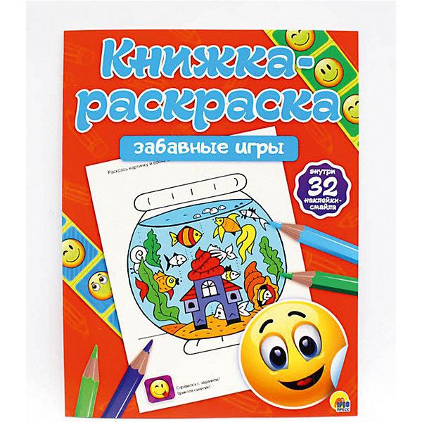 Книжка-раскраска с наклейками. Забавные игры.Рисование<br>Характеристики:<br><br>• тип игрушки: книга;<br>• возраст: от 1 года;<br>• ISBN:  978-5-378-26804-7;<br>• редактор: Анна Дюжикова;<br>• художник: Габазова Юлия;<br>• количество страниц: 34;<br>• материал: бумага;<br>• вес: 85 гр;<br>• размер: 26х20х0,2 см; <br>• издательство: Проф-Пресс.<br>   <br>Книга «Книжка-раскраска с наклейками. Забавные истории» подходит для детей старшего дошкольного возраста. Лабиринты пройдены, головоломки решены, а раскраски раскрашены. Ты справился со всеми заданиями - поздравляем! Теперь тебя ждёт подарок за терпение и смекалку - три смайла ,которые нужно вклеить в эти квадратики!<br> Книгу «Книжка-раскраска с наклейками. Забавные истории» можно купить в нашем интернет-магазине.<br>Ширина мм: 200; Глубина мм: 2; Высота мм: 260; Вес г: 85; Возраст от месяцев: 12; Возраст до месяцев: 84; Пол: Унисекс; Возраст: Детский; SKU: 7757237;