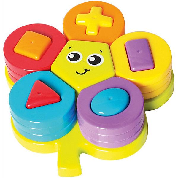 Сортер Playgro ЦветочекСортеры<br>Характеристики:<br><br>• развивающая игрушка для детей от года до 3-х лет;<br>• сортер с геометрическими фигурами;<br>• изучение цветов, форм и размеров;<br>• развитие мелкой моторики и координации движений;<br>• в комплекте 22 детали: фигурное основание, объемный пятиугольник, 5 объемных фигур-столбиков, 15 разноцветных колечек для нанизывания на столбики;<br>• материал: пластик;<br>• размер упаковки: 26х26х19 см;<br>• вес: 400 г.<br><br>Фигурный цветочек-сортер для развития пространственного воображения представляет собой пластиковое основание в виде цветочка с углублениями для цветных столбиков. Объемные фигурки устанавливаются на основание цветочка по форме и размеру. На столбики надеваются фигурки-лепесточки с отверстиями для нанизывания. В процессе кропотливой работы получается яркий цветочек с улыбчивой серединкой, которая декорирована глазками, ротиком и бровками. <br><br>Сортер Playgro «Цветочек» можно купить в нашем интернет-магазине.