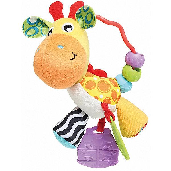 Погремушка Playgro ЖирафИгрушки для новорожденных<br>Характеристики:<br><br>• погремушка с развивающими элементами;<br>• игрушка с прорезывателем;<br>• сочетание различных материалов: пластик, гладкий шелк и пушистый плюш;<br>• кольцо-держатель, используется как ручка для переноски или как петелька для подвешивания на карабинчик;<br>• материал: пластик, плюш, текстиль;<br>• размер упаковки: 23х13х7 см.<br><br>Развивающая игрушка «Жираф» изготовлена из материалов различной фактуры, что способствует развитию тактильного восприятия. Сочетание шелковой и плюшевой поверхности позволяет изучать свойства разных типов тканей, сравнивать и оценивать их структуру. Наличие прорезывателей с рельефной поверхностью облегчает дискомфорт ребенка на этапе прорезывания зубов. На ручке находятся 3 цветные бусины для перекатывания. Бусинки оснащены выпуклыми элементами, которые также позволяют развивать мелкую моторику и тактильное восприятие. <br><br>Погремушка Playgro «Жираф» можно купить в нашем интернет-магазине.<br>Ширина мм: 135; Глубина мм: 75; Высота мм: 230; Вес г: 140; Возраст от месяцев: 36; Возраст до месяцев: 2147483647; Пол: Унисекс; Возраст: Детский; SKU: 7763401;