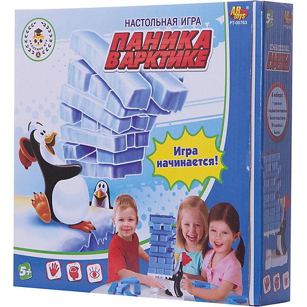 Настольная игра Академия игр Паника в АрктикеНастольные игры для всей семьи<br>Характеристики товара:<br><br>• возраст: от 6 лет;<br>• упаковка: картонная коробка;<br>• размер: 26,5x26,5x7 см;<br>• вес: 375 г;<br>• материал: пластик;<br>• бренд: ABtoys.<br><br>Настольная игра в слова «Паника в Арктике» – это увлекательная стилизованная игра, созданная по типу игры Дженга, где нужно доставать по одному брусочку их башни, не уронив её. Такое развлечение развивает логическое мышление, координацию движений и сможет увлечь детей и взрослых любых возрастов.<br><br>Для начала игры следует построить из блоков ледяную башню и поставить ее на поднос в руки пингвина. В ходе игры каждый игрок должен доставать из любого места башни брусочек и класть его на вершину башни. Игра продолжается до тех пор, пока башня не рухнет. Игрок, после чьего хода это произошло, выбывает из игры. Оставшиеся игроки играют еще несколько раундов до того момента, пока не объявится победитель.<br><br>В комплект набора входят 24 ледяных блока, пингвин, ледяная платформа для него и белая подставка. Правила игры описаны на обратной стороне коробки.<br><br>Настольную игру «Паника в Арктике» можно купить в нашем интернет-магазине.<br>Ширина мм: 265; Глубина мм: 265; Высота мм: 70; Вес г: 375; Возраст от месяцев: 60; Возраст до месяцев: 120; Пол: Мужской; Возраст: Детский; SKU: 7766925;