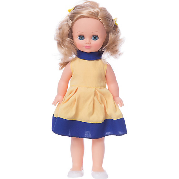Кукла Весна Герда 7 озвученная, 38 см.Куклы<br>Характеристики товара:<br><br>• возраст: от 3 лет;<br>• размер: 10х17х42 см;<br>• высота куклы: 38 см;<br>• вес: 360 г;<br>• материал: пластик, текстиль;<br>• бренд: Весна.<br><br>Кукла Герда со звуковым устройством от российского бренда «Весна» приглашает каждую девочку поиграть с собой. Особенность куклы состоит в том, что она может произносить несколько фраз. Это разнообразит сюжетно-ролевые игры ребенка и позволит кукле стать лучшей подружкой малышки.<br><br>У Герды очень милое личико с красивыми голубыми глазами, пухлыми губами и длинными ресницами. Светлые волосы выполнены из качественного нейлона, хорошо прошиты, что дает возможность не только расчесывать куклу, но и завивать ей пряди.<br><br>На Герде надето милое платье желто-синего цвета и белые туфельки. Дополняет образ желтая заколочка, убирающая волосы назад.<br><br>Куклу Герду со звуковым устройством можно купить в нашем интернет-магазине.<br>Ширина мм: 100; Глубина мм: 170; Высота мм: 420; Вес г: 360; Возраст от месяцев: 36; Возраст до месяцев: 120; Пол: Женский; Возраст: Детский; SKU: 7766929;