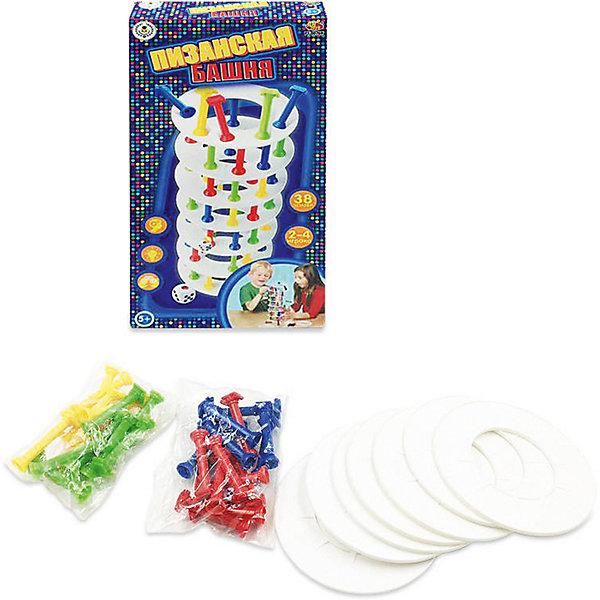 Настольная игра Академия игр Пизанская башняНастольные игры для всей семьи<br>Характеристики товара:<br><br>• возраст: от 5 лет;<br>• упаковка: картонная коробка;<br>• размер: 30x15x4 см;<br>• 2-4 игрока;<br>• материал: пластик;<br>• бренд: ABtoys.<br><br>Настольная игра в слова «Пизанская башня» – это увлекательная игра, в которой игроки должны вынимать из башни одну колонну за другой, стараясь не уронить конструкцию. Такое развлечение развивает внимательность, терпение, координацию движений и сможет увлечь детей.<br><br>Для начала игры необходимо собрать башню, состоящую из колец и колонн, которая своей неустойчивостью напоминает знаменитую итальянскую башню. Игроки по очереди достают из конструкции разноцветные детали. Уронивший башню считается проигравшим.<br><br>В комплект набора входит 7 дисков, 30 колонн и игральная кость. Правила игры написаны на коробке.<br><br>Настольную игру «Пизанская башня» можно купить в нашем интернет-магазине.<br>Ширина мм: 300; Глубина мм: 150; Высота мм: 40; Вес г: 236; Возраст от месяцев: 48; Возраст до месяцев: 120; Пол: Мужской; Возраст: Детский; SKU: 7766931;