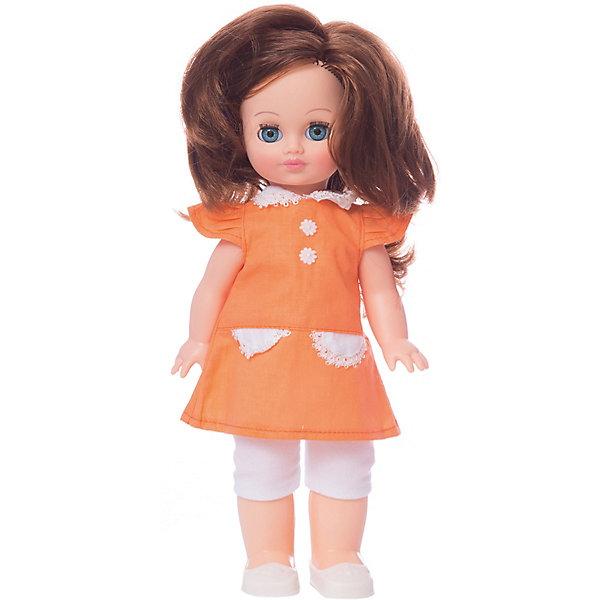 Кукла Весна Элла 24 озвученная, 35 см.Бренды кукол<br>Характеристики товара:<br><br>• возраст: от 3 лет;<br>• размер: 10х17х42 см;<br>• высота куклы: 35 см;<br>• вес: 380 г;<br>• материал: пластик, текстиль;<br>• бренд: Весна.<br><br><br>Кукла Элла со звуковым устройством от российского бренда «Весна» приглашает каждую девочку поиграть с собой. Особенность куклы состоит в том, что она может произносить несколько фраз. Это разнообразит сюжетно-ролевые игры ребенка и позволит кукле стать лучшей подружкой малышки.<br><br>У Эллы очень милое личико с красивыми зелеными глазами, пухлыми губами и длинными ресницами. Темные волосы выполнены из качественного нейлона, хорошо прошиты, что дает возможность не только расчесывать куклу, но и завивать ей пряди.<br><br>На Элле надето розовое платьице с белым кружевом и лосинки. На ногах у куклы белые нежные туфельки. <br><br>Куклу Эллу со звуковым устройством можно купить в нашем интернет-магазине.<br>Ширина мм: 100; Глубина мм: 170; Высота мм: 420; Вес г: 380; Возраст от месяцев: 36; Возраст до месяцев: 120; Пол: Женский; Возраст: Детский; SKU: 7766941;