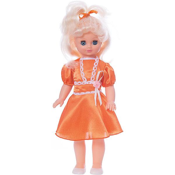 Кукла Весна Лиза 4 озвученная, 42 см.Куклы<br>Характеристики товара:<br><br>• возраст: от 3 лет;<br>• размер: 13х21х49 см;<br>• высота куклы: 42 см;<br>• вес: 550 г;<br>• материал: пластик, текстиль;<br>• бренд: Весна.<br><br>Кукла Лиза со звуковым устройством от российского бренда «Весна» приглашает каждую девочку поиграть с собой. Особенность куклы состоит в том, что она может произносить несколько фраз. Это разнообразит сюжетно-ролевые игры ребенка и позволит кукле стать лучшей подружкой малышки.<br><br>У Лизы очень милое личико с красивыми зелеными глазами, пухлыми губами и длинными ресницами. Светлые волосы выполнены из качественного нейлона, хорошо прошиты, что дает возможность не только расчесывать куклу, но и завивать ей пряди.<br><br>На Лизе надето милое голубое платье, на ножках у нее светлые туфельки. Образ дополняют голубая в цвет ленточка на волосах куклы.<br><br><br>Куклу Лизу можно купить в нашем интернет-магазине.<br>Ширина мм: 130; Глубина мм: 210; Высота мм: 490; Вес г: 550; Возраст от месяцев: 36; Возраст до месяцев: 120; Пол: Женский; Возраст: Детский; SKU: 7766991;