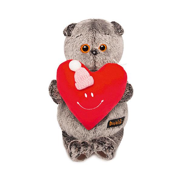 Budi Basa Мягкая игрушка Budi Basa Кот Басик с сердечком, 19 см кувшинчик с сердечком аромалампа керамика 8х10 см без упаковки