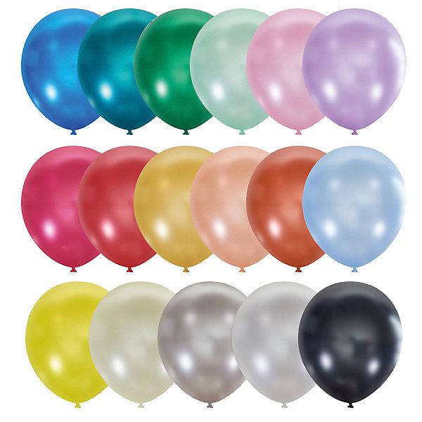 Latex Occidental Воздушные шары Металлик и перламутр 9/23 см, 100 шт