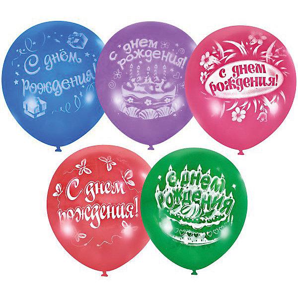 Latex Occidental Воздушные шары Latex Occidental С днём рождения 50 шт., пастель + декоратор action шары воздушные с днем рождения 30 см 50 шт