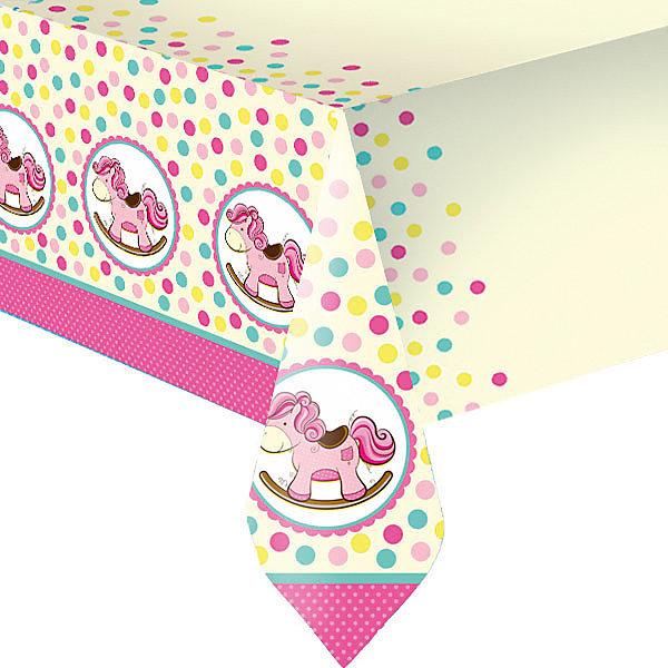 Патибум Скатерть Лошадка. Малышка полиэтиленовая, 140х180 см., розовая