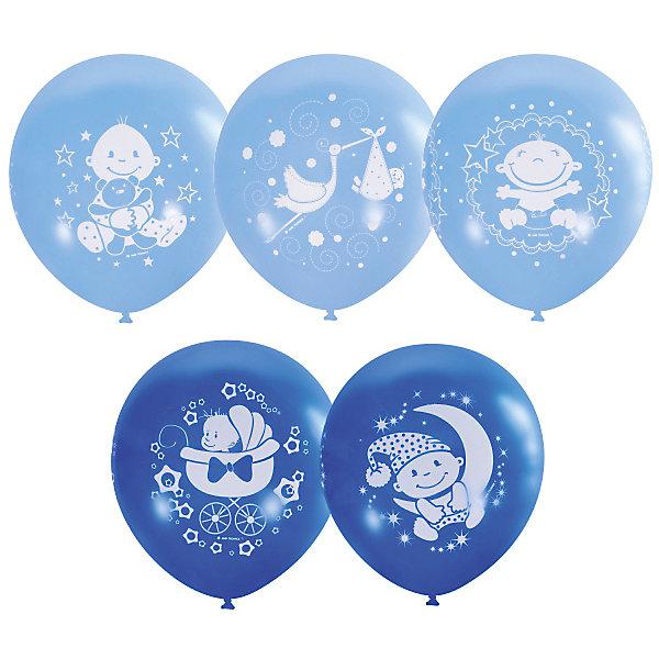 Latex Occidental Воздушные шары С Днем Рождения, малыш! 25 шт 12/30 см, голубой action шары воздушные с днем рождения 30 см 50 шт