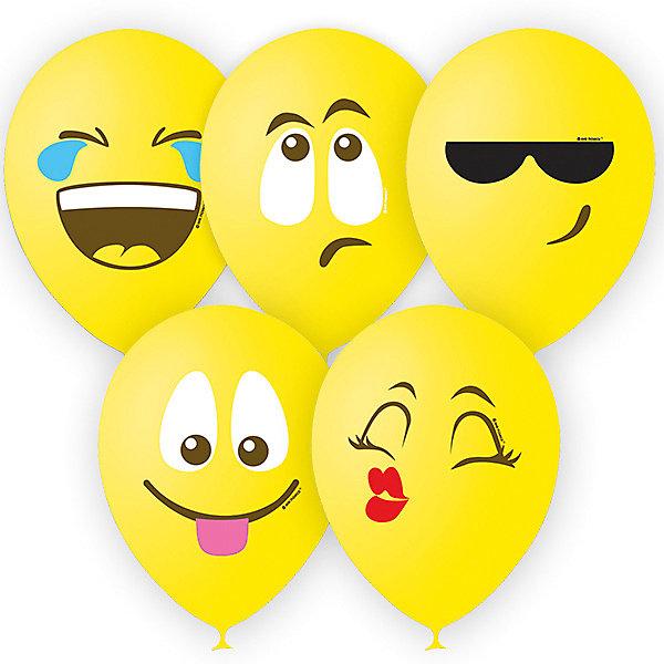 """Воздушные шары Latex Occidental """"Эмоции смайл"""" 25 шт., жёлтый, пастель (шёлк, Воздушные шары Latex Occidental """"Эмоции смайл"""" 25 шт., жёлтый, пастель (шёлк)"""
