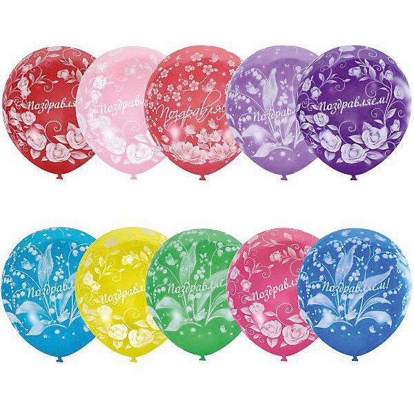 """Latex Occidental Воздушные шары Latex Occidental """"Праздничная тематика. Цветы"""" 25 шт., пастель + декоратор"""